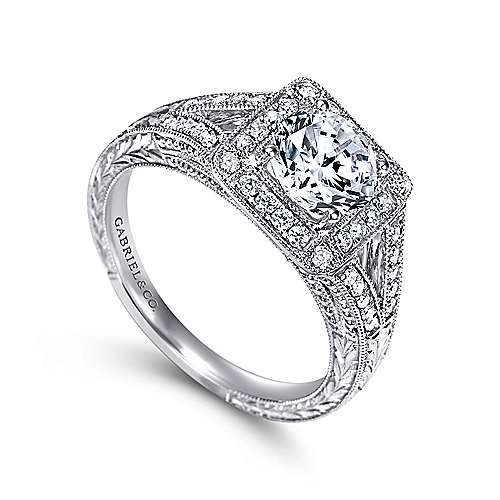Agatha 14k White Gold Round Halo Engagement Ring angle 3