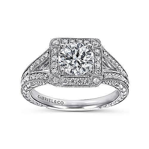 Agatha 14k White Gold Round Halo Engagement Ring angle 5