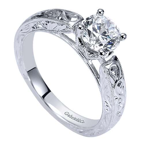 Agnes 14k White Gold Round Straight Engagement Ring angle 3