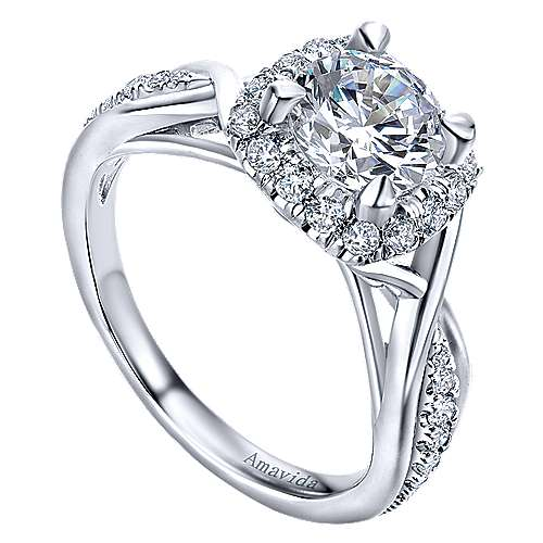 Aguilena 18k White Gold Round Halo Engagement Ring angle 3
