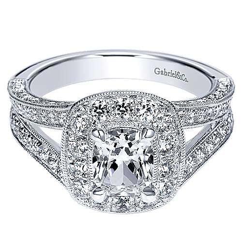 Aida 14k White Gold Cushion Cut Halo Engagement Ring angle 1