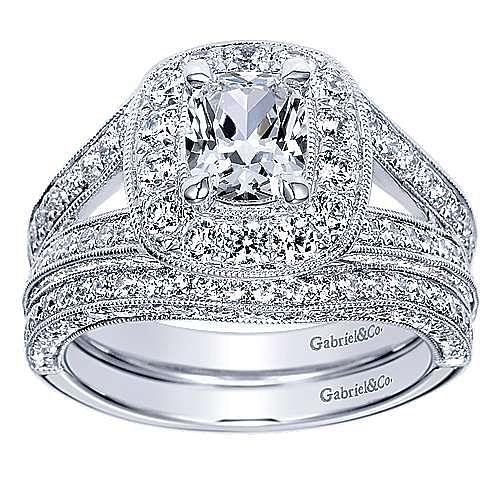 Aida 14k White Gold Cushion Cut Halo Engagement Ring angle 4