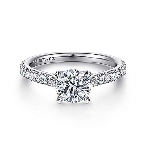 Gabriel - Aidy 14k White Gold Round Straight Engagement Ring