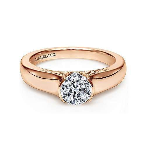 Gabriel - Akira 14k Rose Gold Round Solitaire Engagement Ring