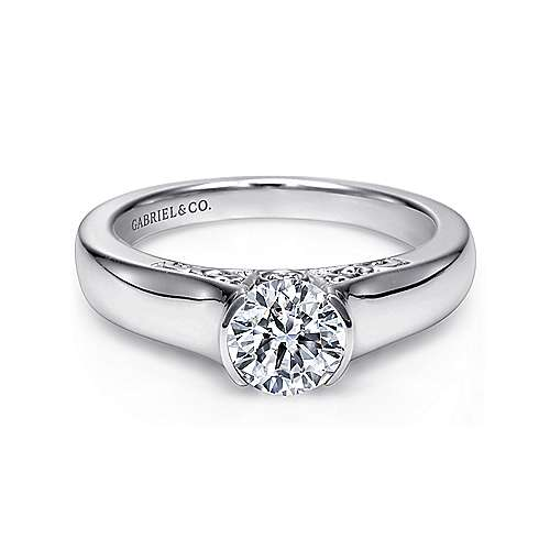 Gabriel - Akira 14k White Gold Round Solitaire Engagement Ring