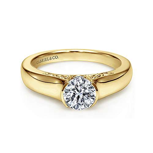 Gabriel - Akira 14k Yellow Gold Round Solitaire Engagement Ring