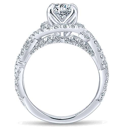 Alana 14k White Gold Round Halo Engagement Ring angle 2