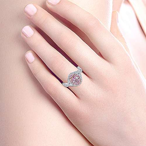 Alba 14k White And Rose Gold Oval Double Halo Engagement Ring angle 6