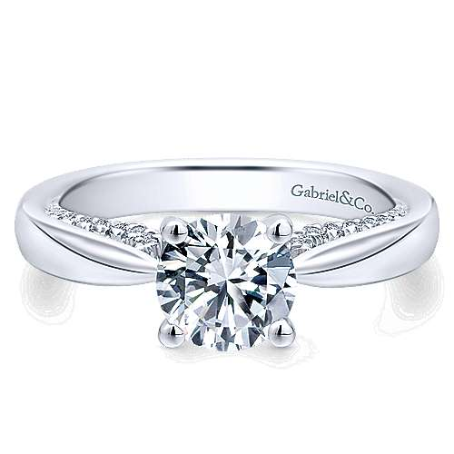 Gabriel - Alder 14k White Gold Round Straight Engagement Ring