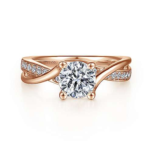 Aleesa 14k Rose Gold Round Twisted Engagement Ring angle 1