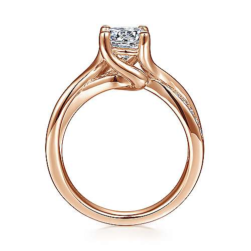 Aleesa 14k Rose Gold Round Twisted Engagement Ring angle 2