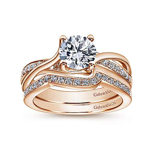 Aleesa 14k Rose Gold Round Twisted Engagement Ring angle 4