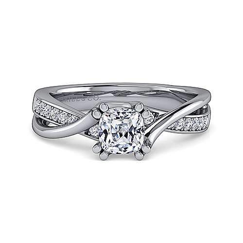 Gabriel - Aleesa 14k White Gold Cushion Cut Bypass Engagement Ring