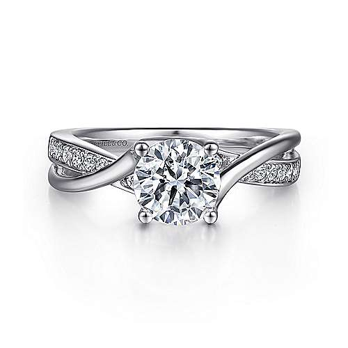 Gabriel - Aleesa 14k White Gold Round Bypass Engagement Ring