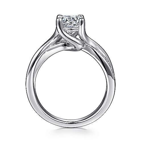 Aleesa 14k White Gold Round Bypass Engagement Ring angle 2