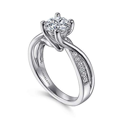 Aleesa 14k White Gold Round Bypass Engagement Ring angle 3
