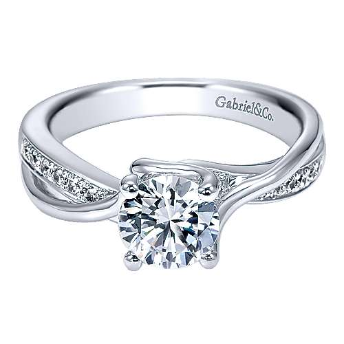 Gabriel - Aleesa 14k White Gold Round Twisted Engagement Ring