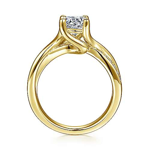 Aleesa 14k Yellow Gold Round Bypass Engagement Ring angle 2