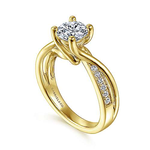 Aleesa 14k Yellow Gold Round Bypass Engagement Ring angle 3