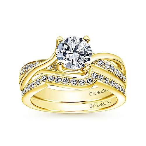 Aleesa 14k Yellow Gold Round Bypass Engagement Ring angle 4