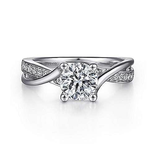 Gabriel - Aleesa Platinum Round Bypass Engagement Ring