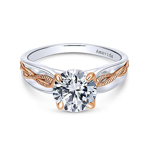 Alejandra 18k White And Rose Gold Round Straight Engagement Ring angle 1