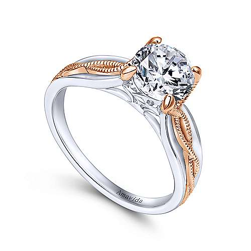 Alejandra 18k White And Rose Gold Round Straight Engagement Ring angle 3