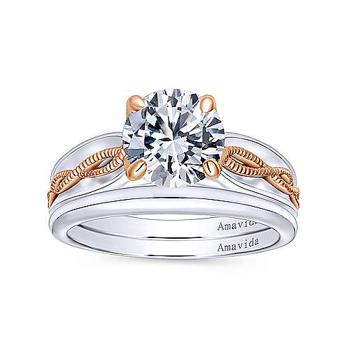 Alejandra 18k White And Rose Gold Round Straight Engagement Ring angle 4