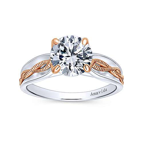 Alejandra 18k White And Rose Gold Round Straight Engagement Ring angle 5