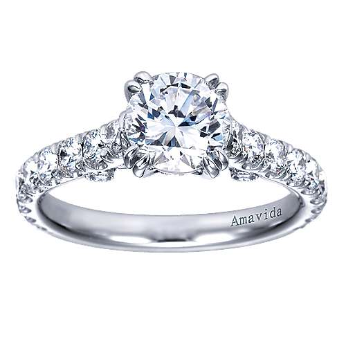 Alexandra 18k White Gold Round Straight Engagement Ring angle 5