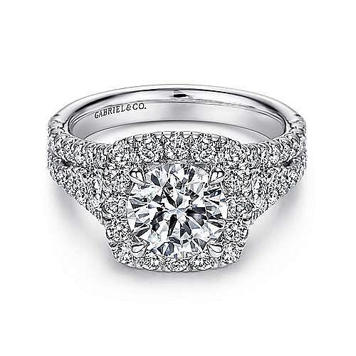 Gabriel - Alexia 14k White Gold Round Halo Engagement Ring
