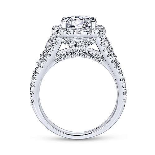 Alexia 18k White Gold Round Halo Engagement Ring angle 2