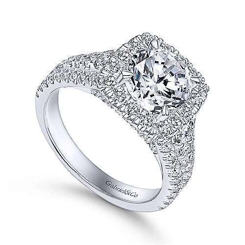 Alexia 18k White Gold Round Halo Engagement Ring angle 3