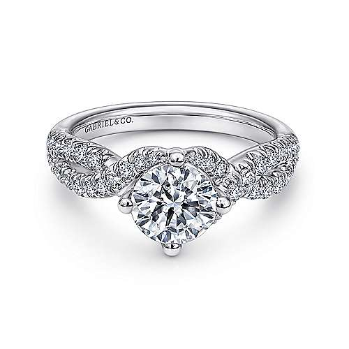 Gabriel - Alexis 14k White Gold Round Twisted Engagement Ring