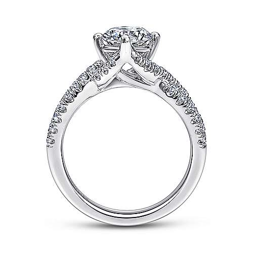 Alexis 14k White Gold Round Twisted Engagement Ring angle 2