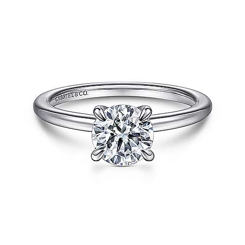 Gabriel - Ali 14k White Gold Round Straight Engagement Ring