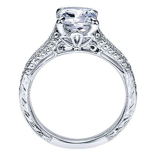 Alice 14k White Gold Cushion Cut Straight Engagement Ring angle 2