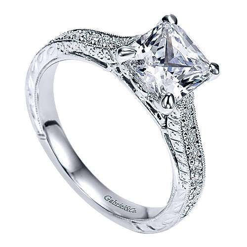 Alice 14k White Gold Cushion Cut Straight Engagement Ring angle 3
