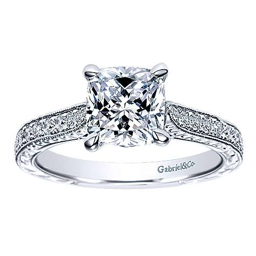 Alice 14k White Gold Cushion Cut Straight Engagement Ring angle 5