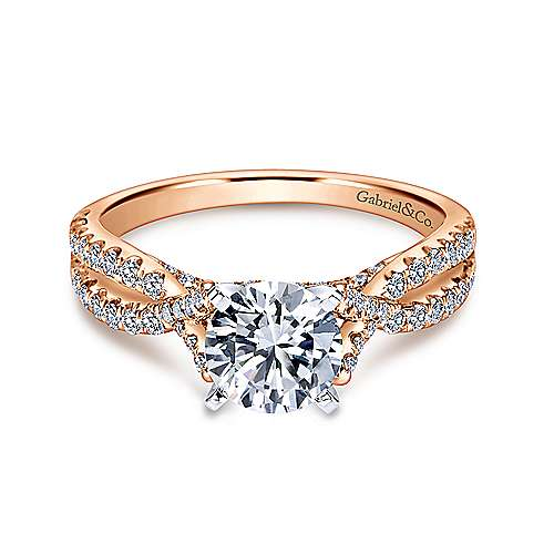 Alicia 14k White And Rose Gold Round Twisted Engagement Ring angle 1