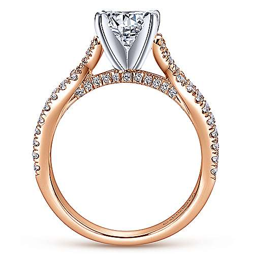 Alicia 14k White And Rose Gold Round Twisted Engagement Ring angle 2