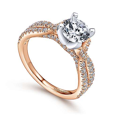 Alicia 14k White And Rose Gold Round Twisted Engagement Ring angle 3