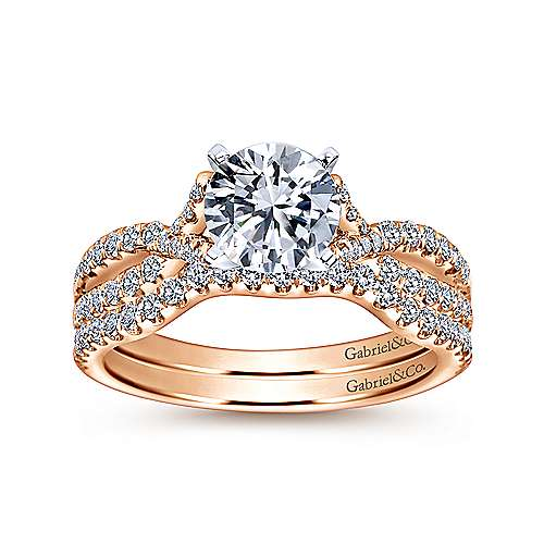 Alicia 14k White And Rose Gold Round Twisted Engagement Ring angle 4