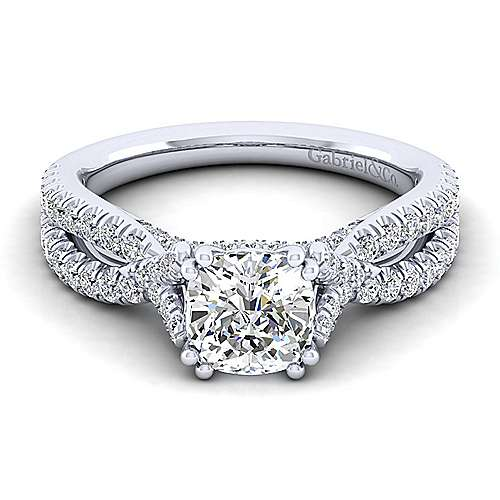 Gabriel - Alicia 14k White Gold Cushion Cut Twisted Engagement Ring