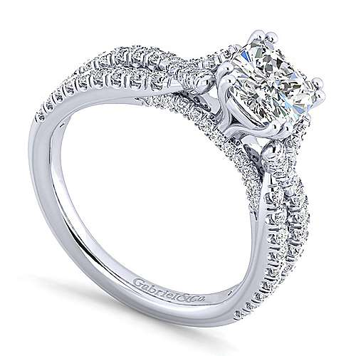 Alicia 14k White Gold Cushion Cut Twisted Engagement Ring angle 3