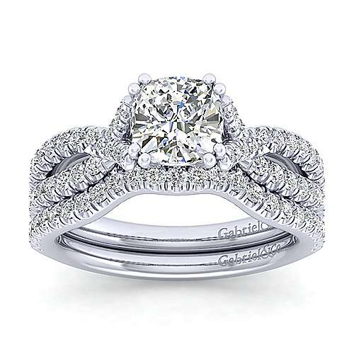 Alicia 14k White Gold Cushion Cut Twisted Engagement Ring angle 4