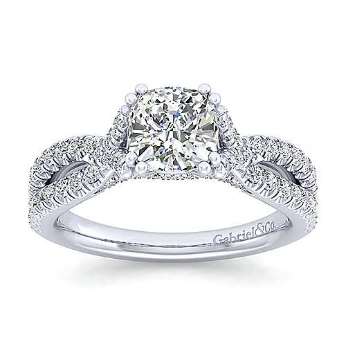Alicia 14k White Gold Cushion Cut Twisted Engagement Ring angle 5