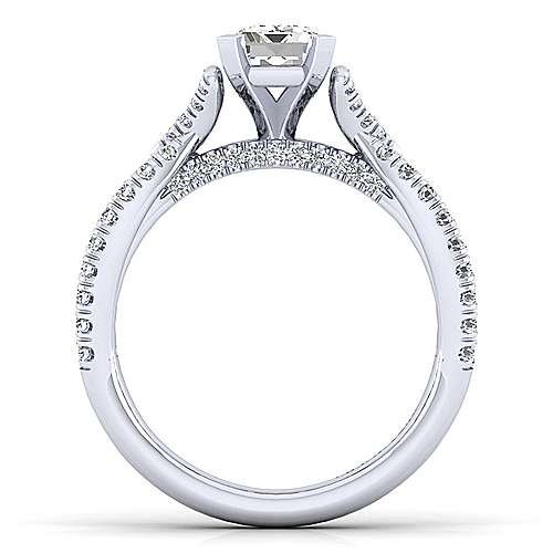 Alicia 14k White Gold Emerald Cut Twisted Engagement Ring angle 2