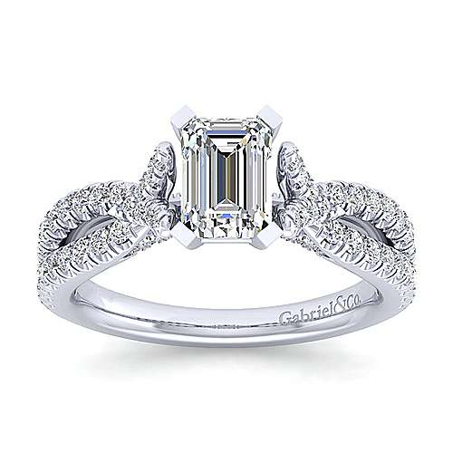 Alicia 14k White Gold Emerald Cut Twisted Engagement Ring angle 5