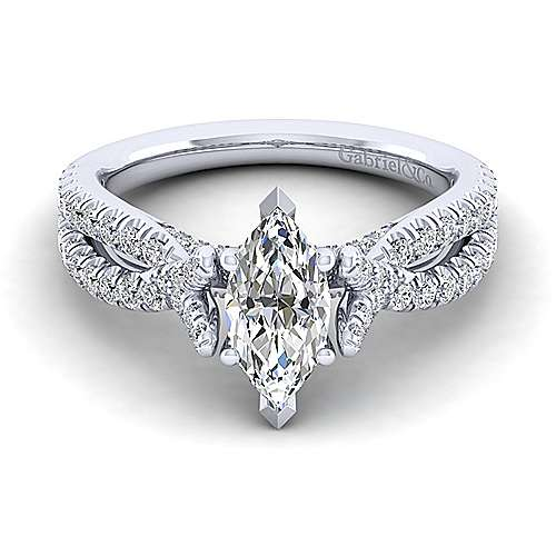 Alicia 14k White Gold Marquise  Twisted Engagement Ring angle 1